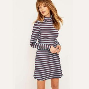 UO BDG Kaylyn Ribbed Striped Turtleneck Dress | S